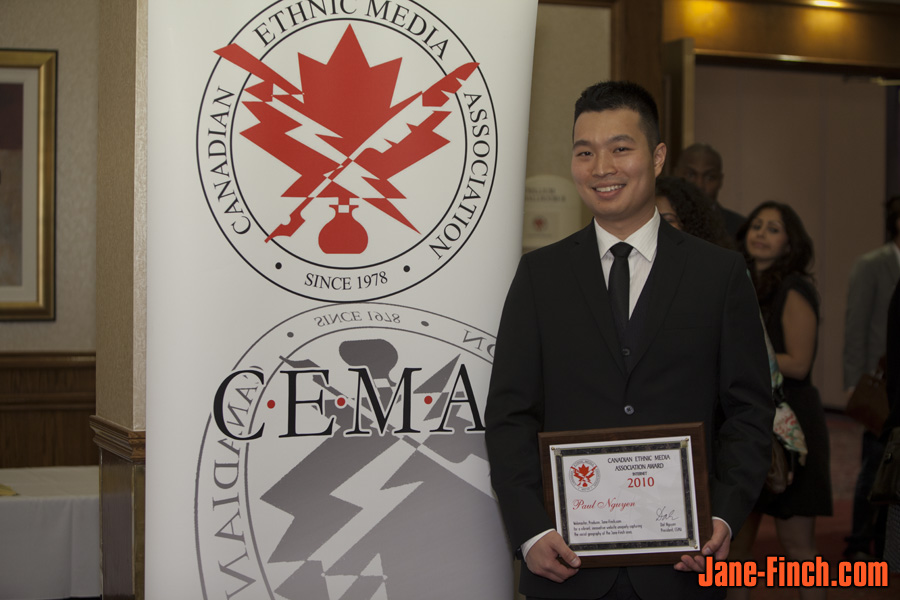 Paul Nguyen accepts the Internet Award at the 32nd Annual CEMA Awards on OMNI Television