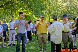 Paul Nguyen and Anthony Perruzza practicing tai chi