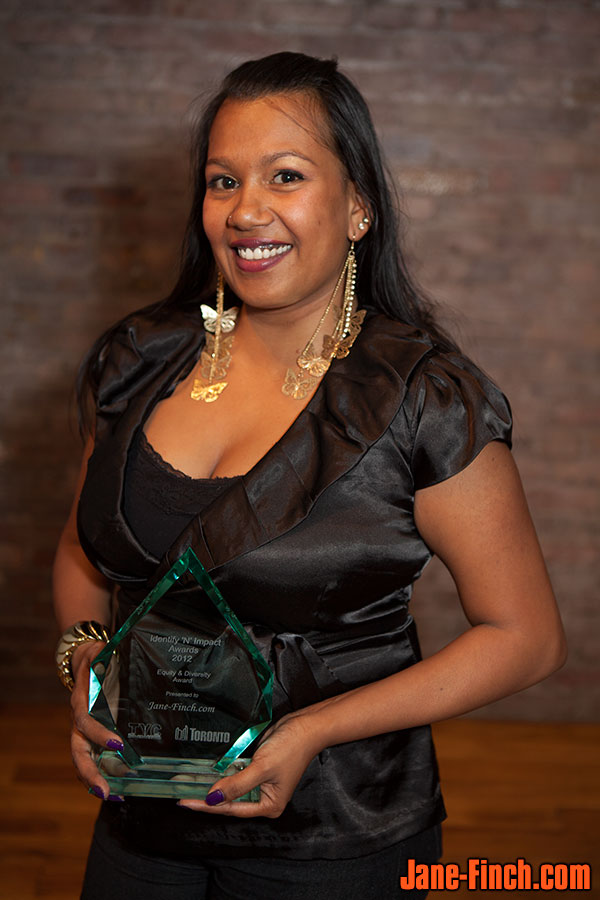 Sabrina Gopaul receives the Equity and Diversity Award at the 2012 Identify 'N Impact Awards