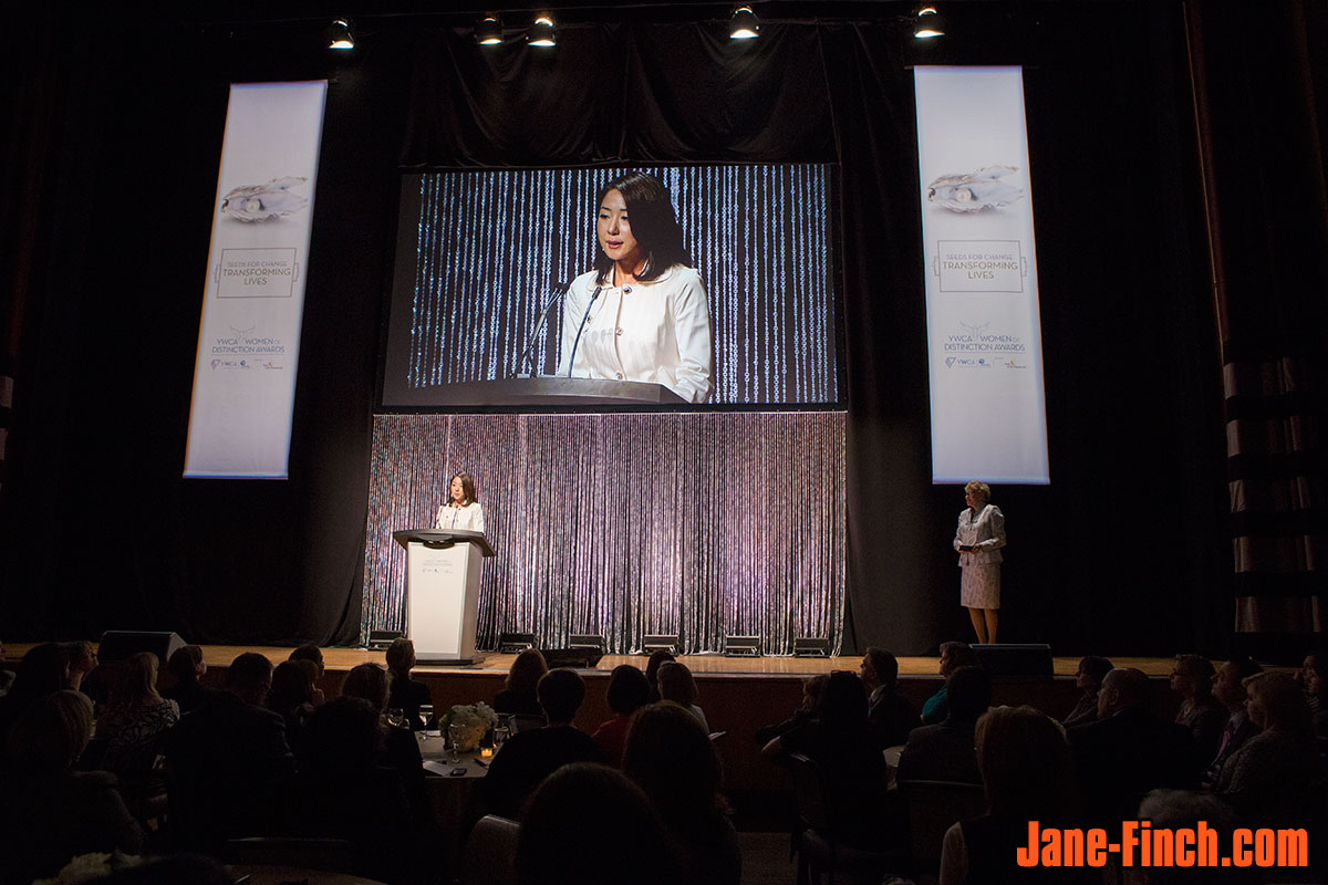 Sue Chun gives her acceptance speech at the 2014 YWCA Toronto Women of Distinction Awards
