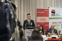 Paul Nguyen speaks at the Hong Fook Mental Health Association press conference for the 2015 Blossom of Hope Gala