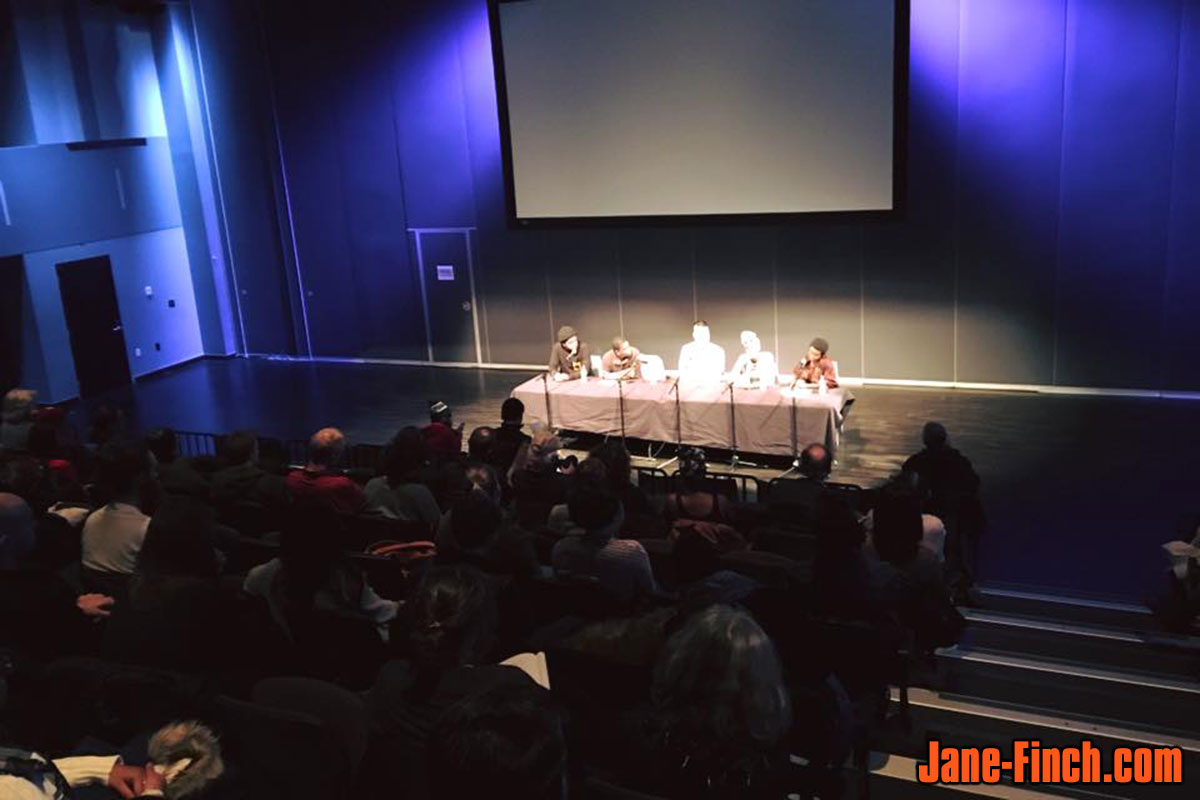 Panelists Amir George, Esery Mondesir, Paul Nguyen, Lu Asfaha and moderator Sharrae Lyon speak about Black Lives Matters at the Regent Park Film Festival.