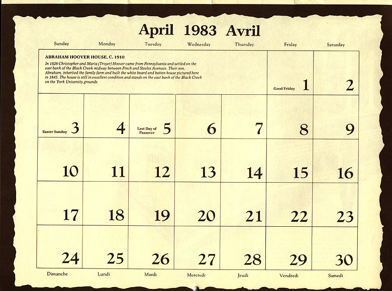 April Calendar Dates : Jane finch history rural roots of old