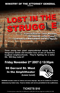 Poster of the United Way screening of Lost in the Struggle