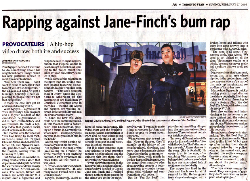 Toronto Star - Rapping against Jane-Finch's bum rap