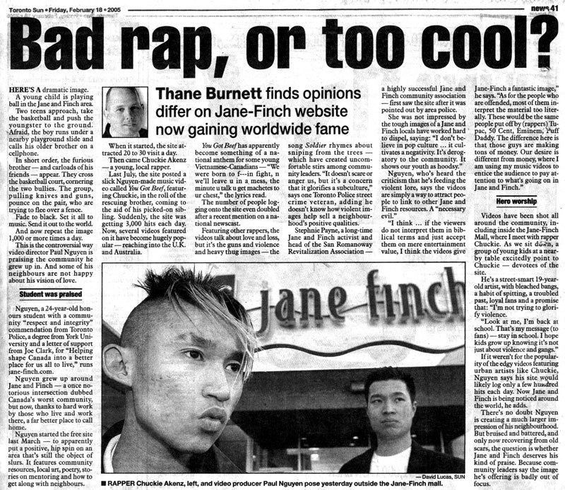 Toronto Sun - Bad rap, or too cool?